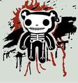 Grunge background with teddy in bones vector