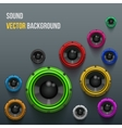 Colorful sound load speakers on dark background vector