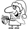 Santa with present coloring page vector