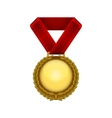 Champion gold medal with red ribbon vector