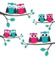 Owls couples set vector