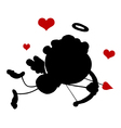 Cupid silhouette cartoon vector