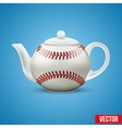 Ceramic teapot in baseball ball style vector