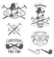 Set of vintage gentlemens club design elements vector