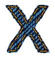Farmerke tekstura slovo x resize vector
