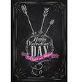 Valentines day poster chalk vector