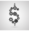 Cogs - gears dollar sign shaped on grey background vector