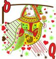 Woman playing cards vector