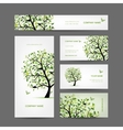 Business cards design spring tree with birds vector