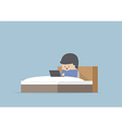 Man working on his laptop in the bed vector