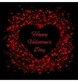 Frame of red hearts on black background vector