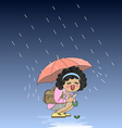 Umbrella girl vector