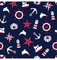 Sea signs on a blue background seamless pattern vector