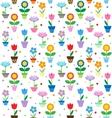 Flowers in pots pattern vector
