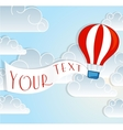 Hot air balloon sign with text banner vector