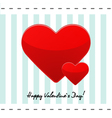 Valentines day postcard with red hearts vector
