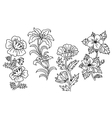 Black and white outline summer flowers vector