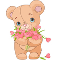 Teddy bear giving hearts bouquet vector
