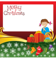 2012 christmas card with girl gifts and socks vector