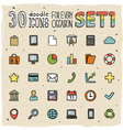 30 colorful doodle icons set 1 vector