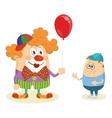 Circus clown with balloon and boy vector