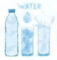 Water bottle and a glass vector