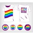 T-shirt with rainbow flag vector