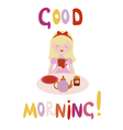 Good morning design with cute little girl drinks vector