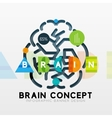 Brain minimal line style infographic banner design vector