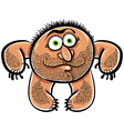Funny cartoon monster with stubble vector