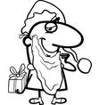 Santa with gift cartoon coloring page vector