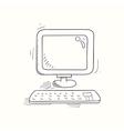 Sketched desktop computer icon vector