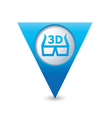 Cinema glasses 3d icon map pointer blue vector
