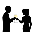 Drinking couple silhouettes vector
