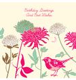 Vintage floral birthday card vector