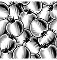 Seamless tomato background black and white vector
