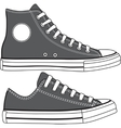 Set of high and low sneakers drawn vector