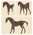 Set of different wood horses vector