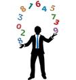 Business man juggling financial number crunching vector
