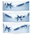 Set of blue holiday banners with gift glossy bow vector