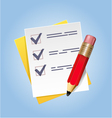 Blank paper and pencil on abstract background vector