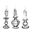 Set of hand drawn candles vector