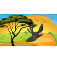 Bird fly near tree vector