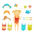 Paper doll cute beach girl in doodle style vector