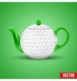 Ceramic teapot in golf ball style vector