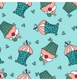 Doodle seamless pattern with sweet cupcakes vector