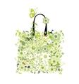 Shopping bag floral design vector
