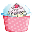 A cupcake in a pink container vector
