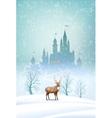 Christmas landscape winter castle vector
