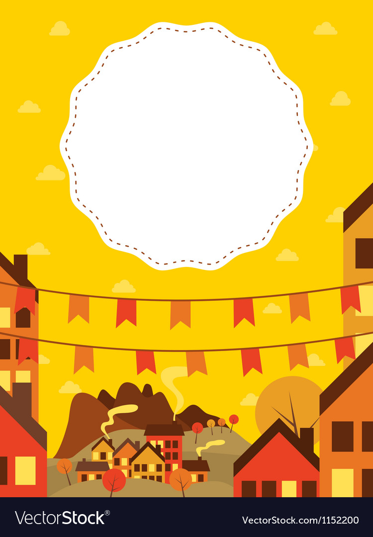 Banner with small town vector | Price: 1 Credit (USD $1)